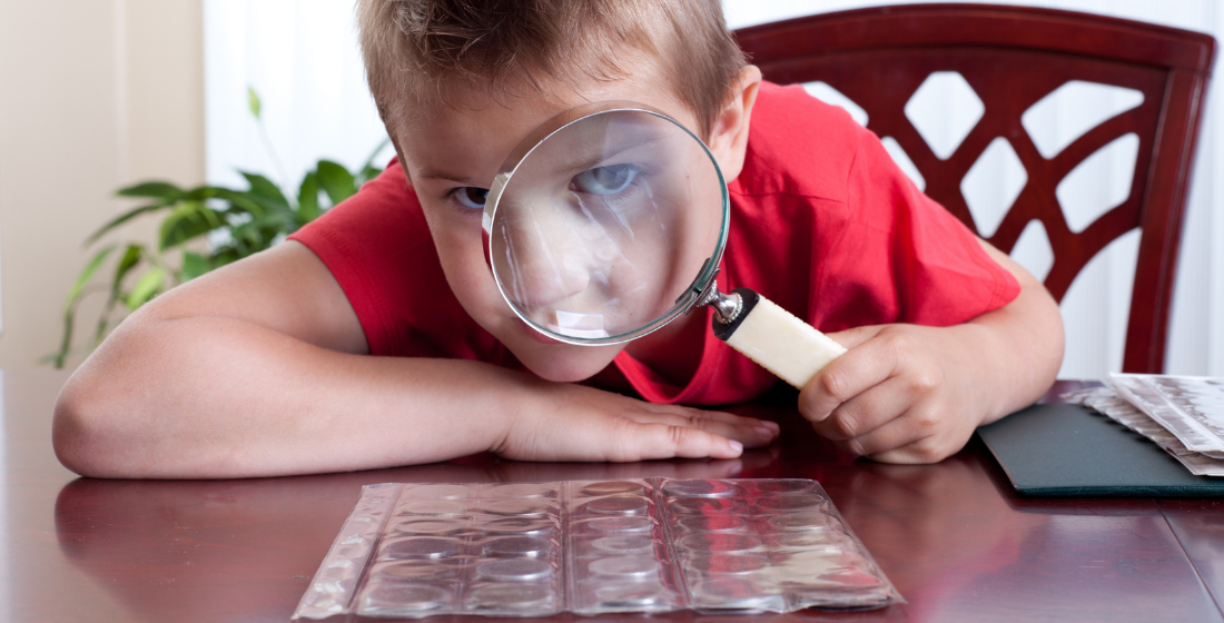 child inspecting coin collection